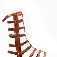 Dollhouse Mid Calf Length Chestnut Gladiator Sandals