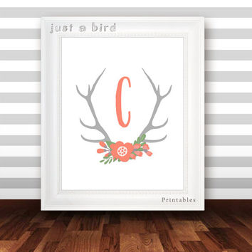 Monogram Art Nursery Letter Print Girl Wall Decor, floral printable flower monogram,Initial, custom deer antler art, coral gray DIGITAL FILE