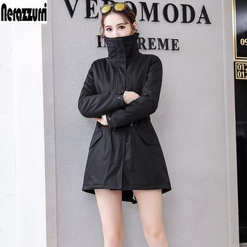 Nerazzurri Winter jacket women fur parka 2018 warm female overcoat  army green faux rabbit fur lining coat plus size 5xl 6xl 7xl