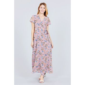 Short Sleeve V-neck Wrapped W/bow Tie Floral Print Maxi Dress ()