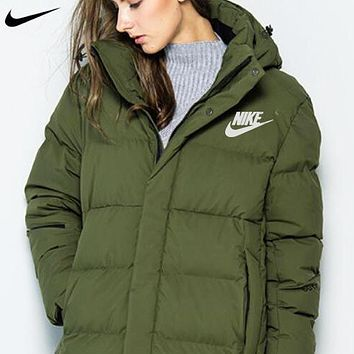 NIKE New fashion letter hook print down jacket coat Army green