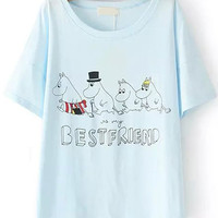 Bestfriend Graphic Print Pale Blue T-Shirt