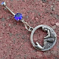 Mermaid Belly Button Ring Jewelry Sapphire Blue by MidnightsMojo