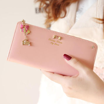Cute Rhinestone Bow Tie Long Leather Wallet for Women