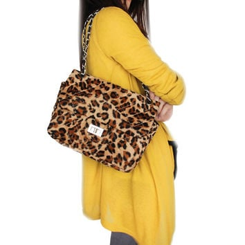 Leopard Coffee Fur Handbag