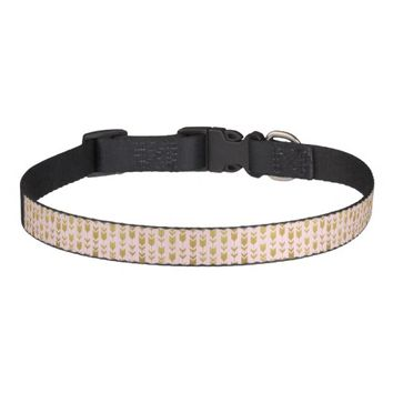 Pink Gold Tribal Arrows Dog Collar
