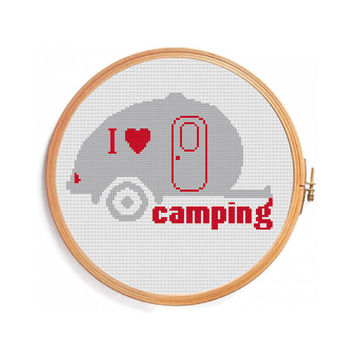 I love camping cross stitch pattern - red grey - mobile home - nature vacation - travel weekend - cross stitch designs