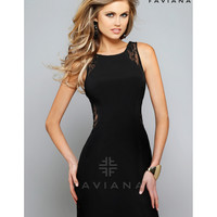 Preorder - Faviana 7657 Black Jersey & Lace Short Bodycon Dress 2015 Homecoming Dresses