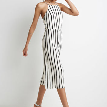 Strappy-Back Striped Jumpsuit