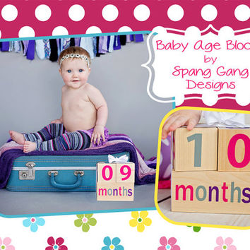 Pregnancy Announcement. Wooden Baby Age Blocks, Photography prop. Months,Years, Grade, Weeks. Pregnancy Countdown. Baby count up.Baby Shower