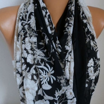 Floral Chiffon Infinity Scarf,Fall Scarf, Circle, Loop Scarf, Gift Ideas For Her, Women's Fashion Accessories Women Scarves