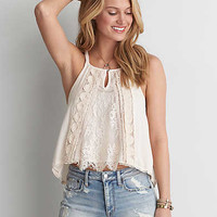 AEO Hi-Neck Lace Trim Cami , White