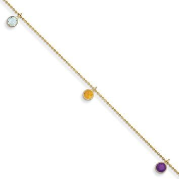 14kt Yellow Gold 9 Inch Multicolored Gemstone Ankle Bracelet