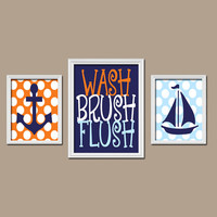 Anchor Boat Bathroom Rules Wall Art Brother Sister Bathroom Anchor Boat Nautical Wall Art Bathroom Ocean Wall Art Set of 3 Canvas or Prints