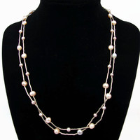 Sterling Silver Pearl Necklace, 2 Strand, Real Pearl, Silver Beads, 925 Silver, Vintage Necklace