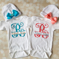 Twin Girls Take Home Outfit - Personalized Set - Twin Girl Set - Monogram Set - Welcome Home Outfit -Matching Outfit - Hat Bow -  Sparkly