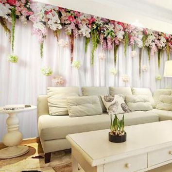photo wallpaper quality & Romantic flowers hanging cozy bedroom wedding venue meal large mural wall paper living room