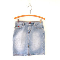Vintage Mini Jean Skirt. Light Wash Denim Skirt.