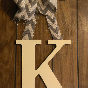 Cream hand painted initial door hanger with burlap bow - wooden letter, hand painted letter, door decor, wall decor, initial, monogram