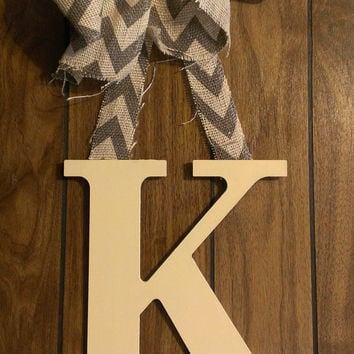Cream hand painted initial door hanger with burlap bow - wooden letter hand painted letter & Shop Initial Door Hanger on Wanelo