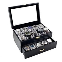 Caddy Bay Collection Black Classic Watch Case Display Box With Clear Glass Top Holds 20 Watches and Caddy Bay Collection Microfiber Cleaning Cloth