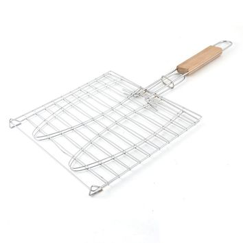 Wooden Handle Metal Mesh Fish Meat Barbecue Grill Grilling Folder Clip Clamp