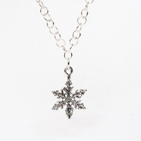 Sterling Silver Snowflake Necklace, Holiday Christmas Gift Sterling Silver Charm, Winter Trending Gift for Her, Gift Guide, Snow flake Charm