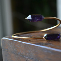 Lux Divine Amethyst Point Wrap Gemstone Bracelet /// Gold