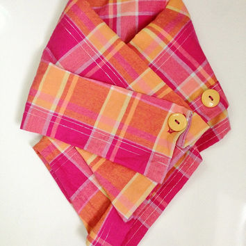 Baby scarf, toddler scarf, bandana scarf, baby girl scarf, orange and pink, Etsy UK, keffiyeh, spring scarf