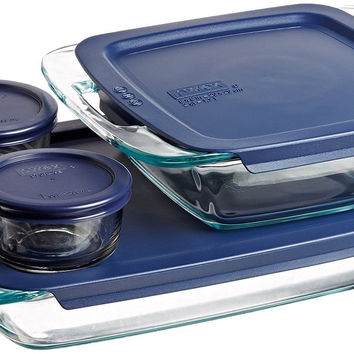 Pyrex Easy Grab 8-Piece Glass Bakeware and Food Storage Set 8 pc set