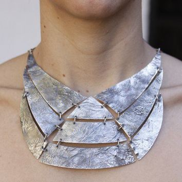 925 sterling silver choker pectoral Necklace made by aboutjewelry