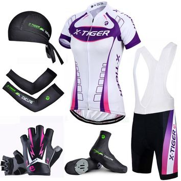 X-Tiger Pro Women Summer Cycling Set Quick-Dry Racing Bicycle Cycling Clothing Breathable Mountain Bike Clothes Cycling Jersey