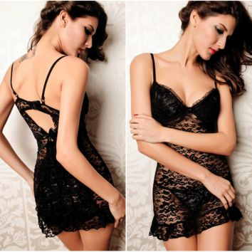 Fashion Women Love Sexy Hot Underwear Lace Babydoll Lingerie Sleepwear Open Bra Crotch = 4662138436