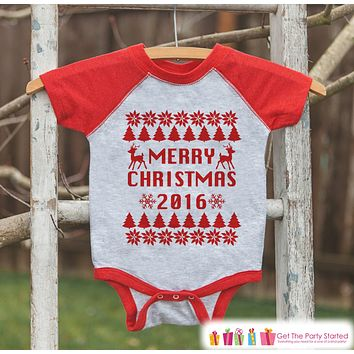 Kids Ugly Christmas Sweater Outfit - Merry Christmas 2016 Ugly Sweater - Funny Kids Christmas Shirt or Onepiece - Boy or Girl Holiday Party