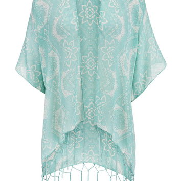 Sea Green Patterned Scarf Wrap With Fringe - Sea Green
