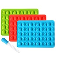50 Cavity Gummy Bears Candy Chocolate Silicone Mold Ice Cube Tray Baking Mold Fondant Cake Decorating Tool with Dropper