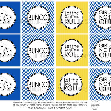 Printable Bunco Cupcake Toppers, Sticker Labels & Party Favor Tags Royal Blue & Yellow by SUNSHINETULIPDESIGN
