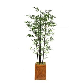 "81"" Black Bamboo Artificial Tree in 13"" Bronze Square X Fiberstone Planter"