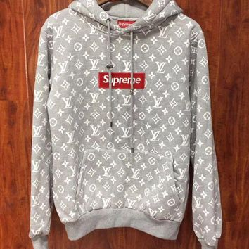 PEAPOK3 Supreme x LV Louis Vuitton Hooded Fashion Top Sweater Pullover Hoodie
