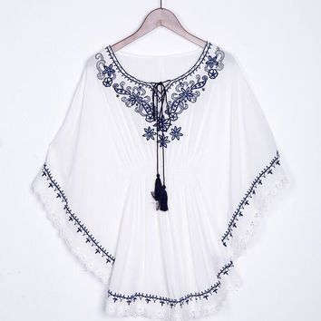 White, Women's Mexican Shirt - Floral Boho Traditional Mexican Embroidered Blouse