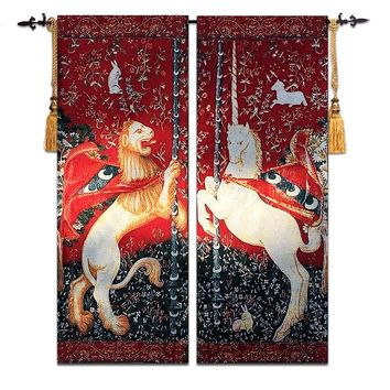 Lion And Unicorn A Pair Belgium Art Wall Tapestry Wall Hanging Moroccan Decor Wall Cloth Tapestries Gobelin Wall Carpet tapiz