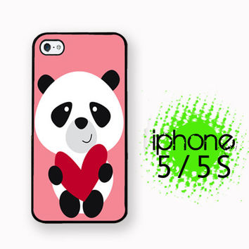 Pink Panda Bear Heart iPhone 5S Case | iPhone 5  Plastic or Rubber Hard Case White or Black