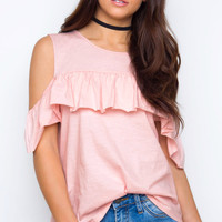 Charlize Cold Shoulder Top - Blush