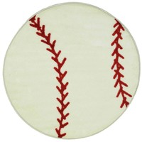 Fun Shape Kids Rug ~ Baseball