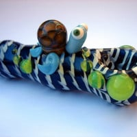 Turtle Pipe - Caribbean blue w/ Aquatic Carnaval Sea Turtle - electric blue sea w/ white waves drifting this unique turtle towards the bowl