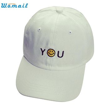 High Quality Letter Embroidery Cotton Smile Baseball Cap Unisex Snapback Hip Hop Sun Hat  MAY 30Jan 22