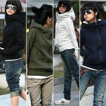 Korean Women's Winter warm Jacket Sweater Hoodie Sleeve Solid Color Coat = 1919957636