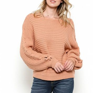 Ribbed Lace-Up Sleeve Sweater