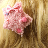 Pink Fluffy Kawaii Star Hair Clip or Pin Brooch with Pink Pom Pom Hearts and Bow for Fairy Kei or Lolita Styles