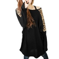 Allegra K Leopard Prints Long Batwing Sleeve Stretch Loose Tunic Shirt for Women